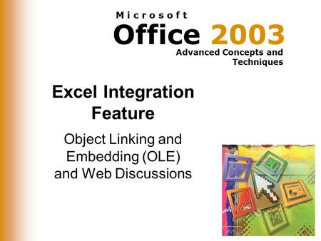 Office 2003 Advanced Concepts and Techniques M i c r o s o f t Excel Integration Feature Object Linking and Embedding (OLE) and Web Discussions.