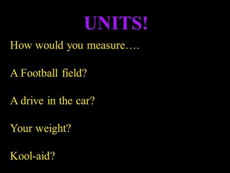 How would you measure…. A Football field? A drive in the car? Your weight? Kool-aid? UNITS!