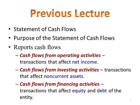 Statement of Cash Flows Purpose of the Statement of Cash Flows Reports cash flows – Cash flows from operating activities – transactions that affect net.