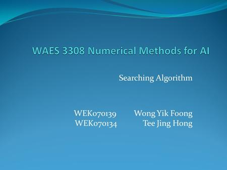 WAES 3308 Numerical Methods for AI