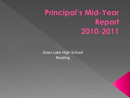 Grass Lake High School Reading.  All Students must be proficient in reading by 2014.