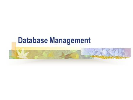 Database Management. ICT5 Database Administration (DBA) The DBA's tasks will include the following: 1. The design of the database. After the initial design,