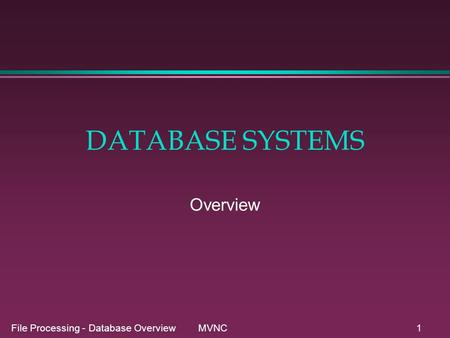 File Processing - Database Overview MVNC1 DATABASE SYSTEMS Overview.
