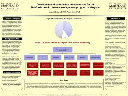 Development of coordinator competencies for the Stanford chronic disease management program in Maryland Virginia Brown, DrPH; Patsy Ezell, PhD Stanford's.