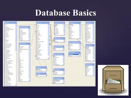 Database Basics   Describe the basic organization of a database.   Summarize advantage to using database software.   Define GIGO, and explain how.
