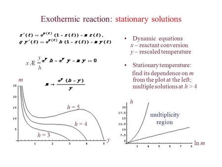 Exothermic reaction: stationary solutions Dynamic equations x – reactant conversion y – rescaled temperature Stationary temperature: find its dependence.