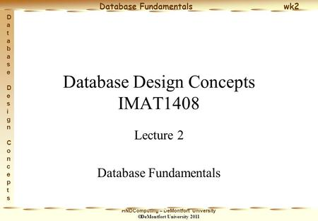 HNDComputing – DeMontfort University  DeMontfort University 2011 Database Fundamentals wk2 Database Design ConceptsDatabase Design Concepts Database Design.