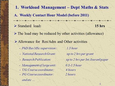 1 1. Workload Management – Dept Maths & Stats A. Weekly Contact Hour Model (before 2011)  Standard load: 15 hrs  Allowance for Res/Adm and Other activities.