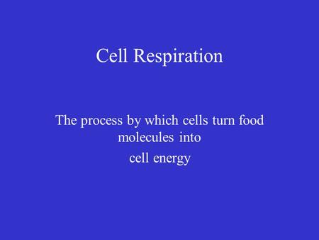 Cell Respiration The process by which cells turn food molecules into cell energy.
