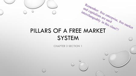 PILLARS OF A FREE MARKET SYSTEM CHAPTER 3 SECTION 1 Remember: free enterprise, free market and capitalism are used interchangeably in this class!!!