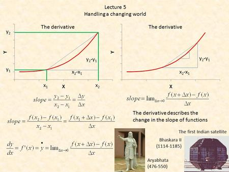 The derivative Lecture 5 Handling a changing world x 2 -x 1 y 2 -y 1 The derivative x 2 -x 1 y 2 -y 1 x1x1 x2x2 y1y1 y2y2 The derivative describes the.