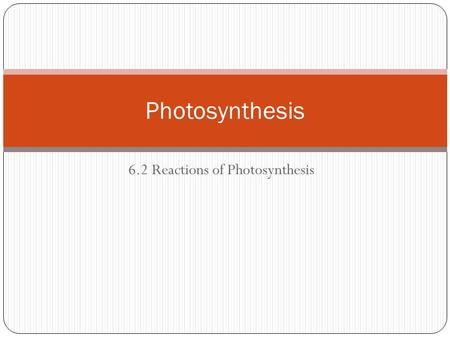 6.2 Reactions of Photosynthesis Photosynthesis. Purpose: to use photons from sunlight to create glucose - solar energy converted to usable chemical energy.