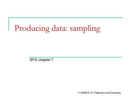 Producing data: sampling BPS chapter 7 © 2006 W. H. Freeman and Company.