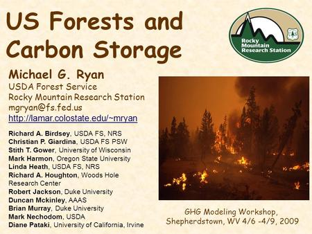 US Forests and Carbon Storage Michael G. Ryan USDA Forest Service Rocky Mountain Research Station  GHG.