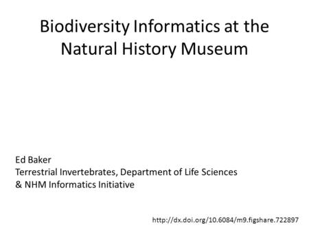 Biodiversity Informatics at the Natural History Museum Ed Baker Terrestrial Invertebrates, Department of Life Sciences & NHM Informatics Initiative