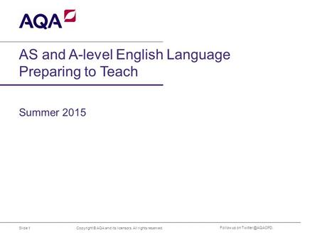 AS and A-level English Language Preparing to Teach