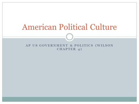 AP US GOVERNMENT & POLITICS (WILSON CHAPTER 4) American Political Culture.