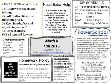 Math II Fall 2015 Mrs. Brandy Jonsson   PowerSchool Parent Portal gives parents and.