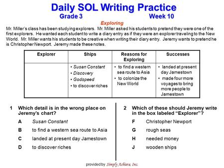 Grade 3Week 10 Daily SOL Writing Practice provided by Simply Achieve, Inc. Exploring Mr. Miller's class has been studying explorers. Mr. Miller asked his.