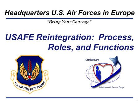 """Bring Your Courage"" Headquarters U.S. Air Forces in Europe 1 USAFE Reintegration: Process, Roles, and Functions."
