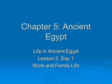 Chapter 5: Ancient Egypt Life in Ancient Egypt Lesson 2: Day 1 Work and Family Life.