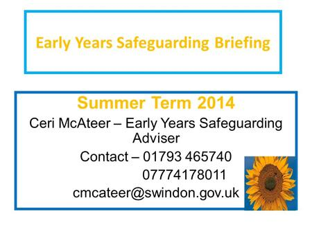 Early Years Safeguarding Briefing Summer Term 2014 Ceri McAteer – Early Years Safeguarding Adviser Contact – 01793 465740 07774178011