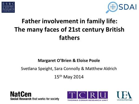 Father involvement in family life: The many faces of 21st century British fathers Margaret O'Brien & Eloise Poole Svetlana Speight, Sara Connolly & Matthew.