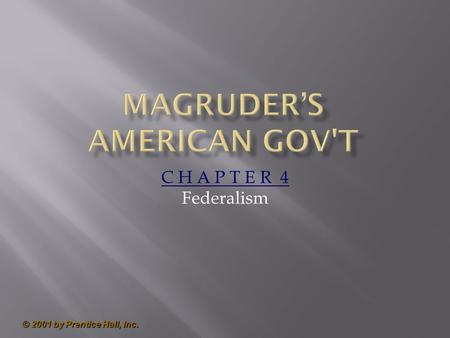 © 2001 by Prentice Hall, Inc. C H A P T E R 4 Federalism.