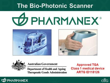 The Bio-Photonic Scanner Approved TGA Class 1 medical device ARTG ID118126.