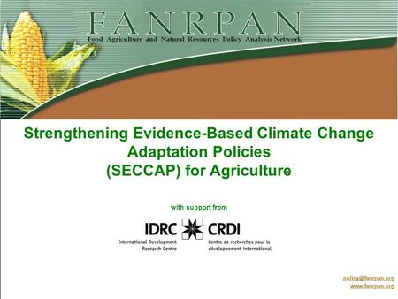 Strengthening Evidence-Based Climate Change Adaptation Policies (SECCAP) for Agriculture with support from Project inception meeting for Malawi 27 May.