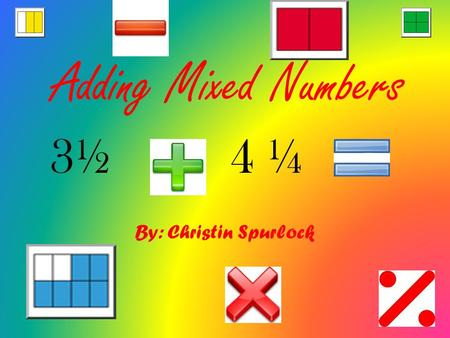 Adding Mixed Numbers By: Christin Spurlock 3½4 ¼.