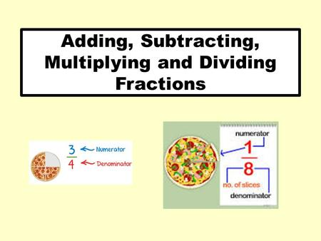 Adding, Subtracting, Multiplying and Dividing Fractions