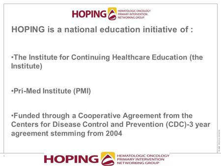© 2007 DIGITAS HEALTH 1 HOPING is a national education initiative of : The Institute for Continuing Healthcare Education (the Institute) Pri-Med Institute.