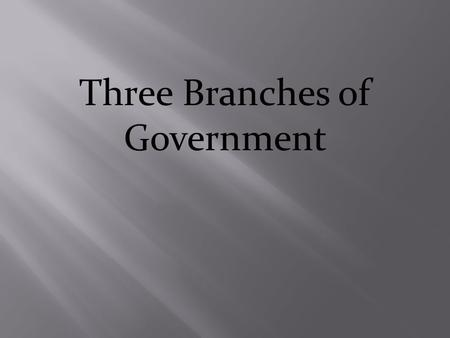Three Branches of Government. Section 1 The Legislative Branch.