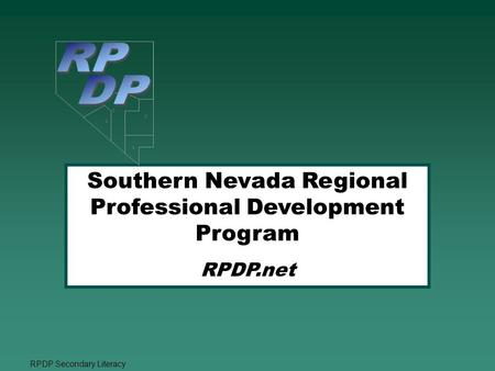 RPDP Secondary Literacy Southern Nevada Regional Professional Development Program RPDP.net    