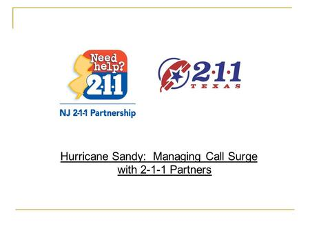 Hurricane Sandy: Managing Call Surge with 2-1-1 Partners.