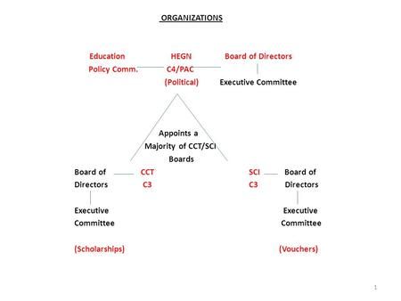 ORGANIZATIONS Education HEGN Board of Directors Policy Comm. C4/PAC (Political) Executive Committee Appoints a Majority of CCT/SCI Boards Board of CCT.