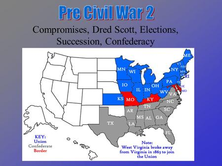 Compromises, Dred Scott, Elections, Succession, Confederacy.