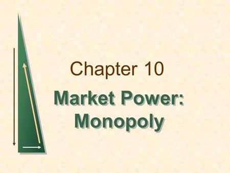 Chapter 10 Market Power: Monopoly Market Power: Monopoly.