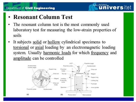 Resonant Column Test The resonant column test is the most commonly used laboratory test for measuring the low-strain properties of soils It subjects solid.