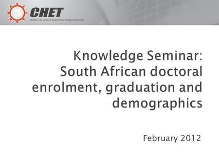 February 2012. Graph 1 sets out data on key elements of SA's high-level knowledge production for the period 1996-2010 expressed as doctoral enrolments,