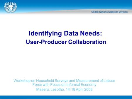 Identifying Data Needs: Workshop on Household Surveys and Measurement of Labour Force with Focus on Informal Economy Maseru, Lesotho, 14-18 April 2008.