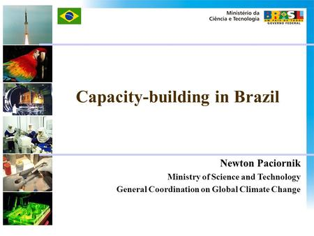 Newton Paciornik Ministry of Science and Technology General Coordination on Global Climate Change Capacity-building in Brazil.