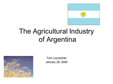 The Agricultural Industry of Argentina Tom Loynachan January 28, 2009.