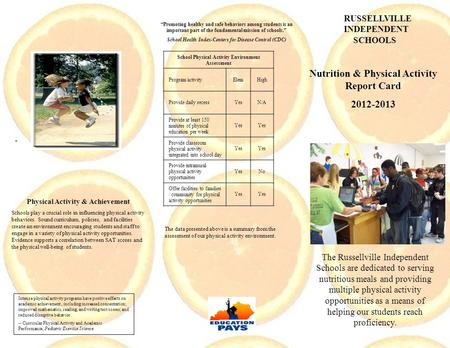 Nutrition & Physical Activity Report Card 2012-2013 The Russellville Independent Schools are dedicated to serving nutritious meals and providing multiple.