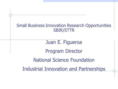 Industrial Innovations & Partnerships Juan E. Figueroa Program Director National Science Foundation Industrial Innovation and Partnerships Small Business.