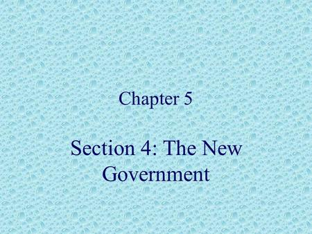 Section 4: The New Government