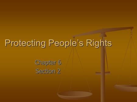 Protecting People's Rights Chapter 6 Section 2. Key Terms Separation of Church and State Separation of Church and State Eminent Domain Eminent Domain.