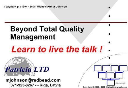 Copyright (C) 1993 – 2005 Michael Arthur Johnson 371-923-8267 - - Riga, Latvia Beyond Total Quality Management Learn to live the talk.