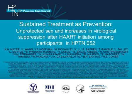 Sustained Treatment as Prevention: Unprotected sex and increases in virological suppression after HAART initiation among participants in HPTN 052 1 K.H.